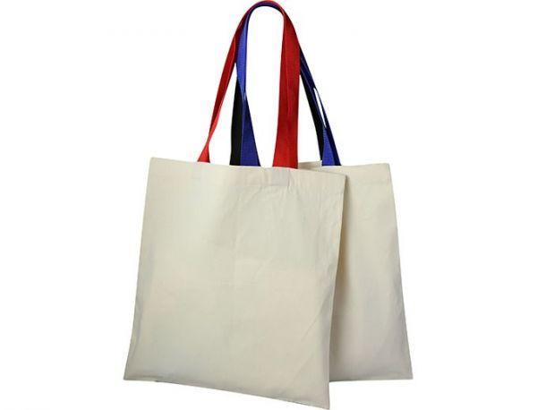 Холщовая сумка с цветными лямками GRAND