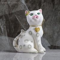 "Копилка ""Кошка Василиса"", флок, бело-серая, 23 см"