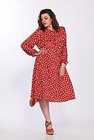 Женское летнее красное нарядное большого размера платье Lady Secret 3670 алый 54р.