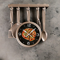"Часы настенные, серия: Кухня, ""Кухонная утварь"", бронзовые, 32х34 см, плавный ход"