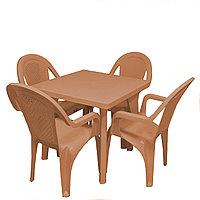 Садовый стол с 4 стульями Ddstyle коричневые