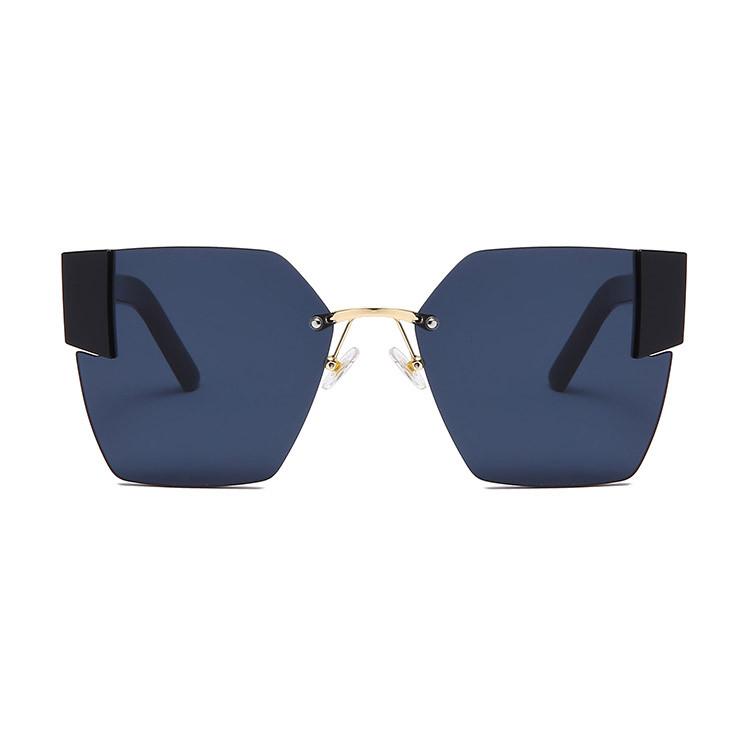 Солнцезащитные очки с черными стеклами с широкой черной дужкой UV 400 2203 - фото 3