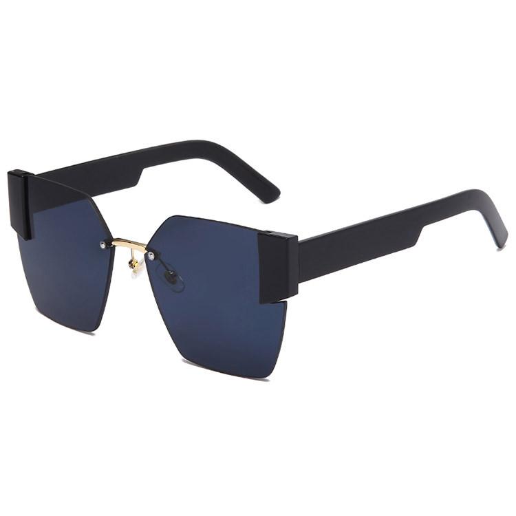 Солнцезащитные очки с черными стеклами с широкой черной дужкой UV 400 2203 - фото 4