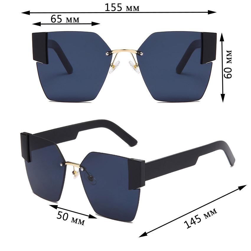 Солнцезащитные очки с черными стеклами с широкой черной дужкой UV 400 2203 - фото 2