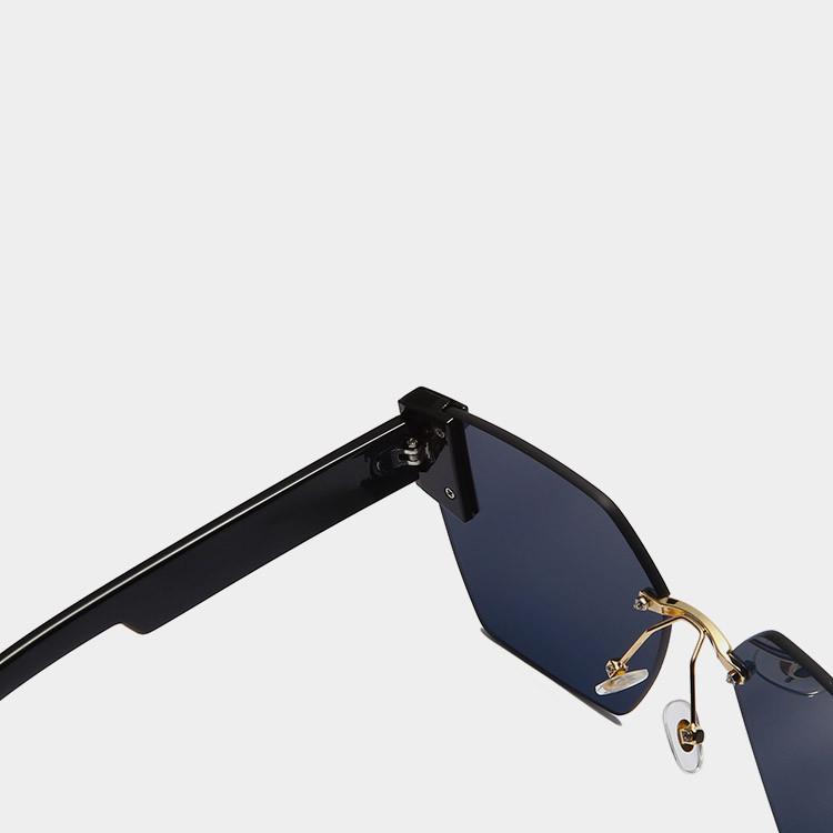 Солнцезащитные очки с черными стеклами с широкой черной дужкой UV 400 2203 - фото 5