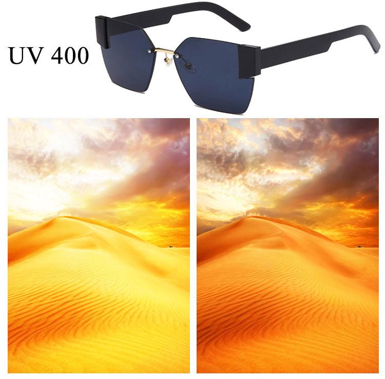 Солнцезащитные очки с черными стеклами с широкой черной дужкой UV 400 2203 - фото 7