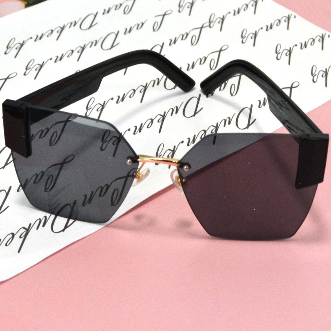 Солнцезащитные очки с черными стеклами с широкой черной дужкой UV 400 2203 - фото 9
