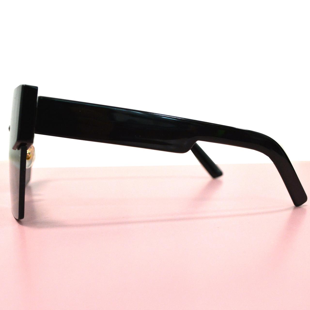 Солнцезащитные очки с черными стеклами с широкой черной дужкой UV 400 2203 - фото 10