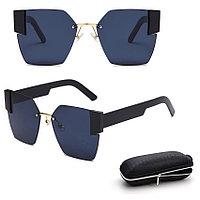 Солнцезащитные очки с черными стеклами с широкой черной дужкой UV 400 2203