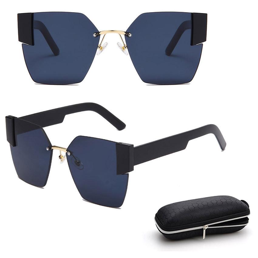 Солнцезащитные очки с черными стеклами с широкой черной дужкой UV 400 2203 - фото 1
