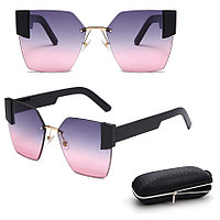 Солнцезащитные очки с фиолетово розовыми стеклами с широкой черной дужкой UV 400 2203