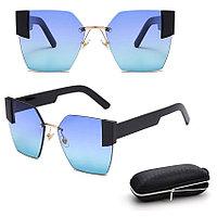 Солнцезащитные очки с сине зелеными стеклами с широкой черной дужкой UV 400 2203