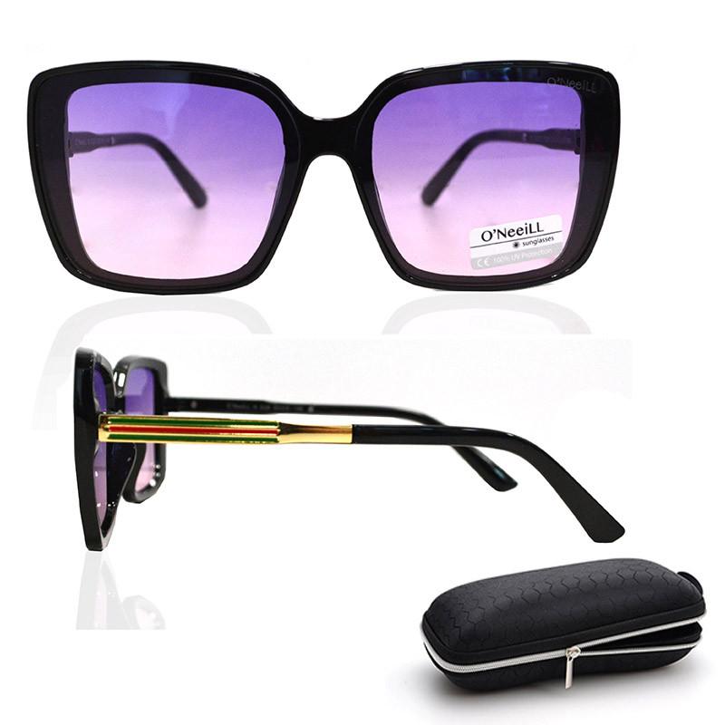 Солнцезащитные очки с фиолетовыми стеклами с узором на дужке UV 400 O'NeeiLL N G 28 черные - фото 1