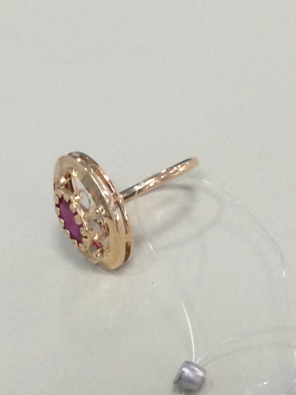 Кольцо с фианитом / красное золото - 18,5 размер - фото 3