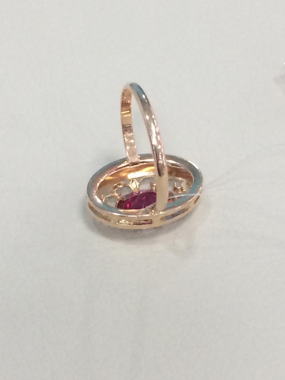 Кольцо с фианитом / красное золото - 18,5 размер - фото 4