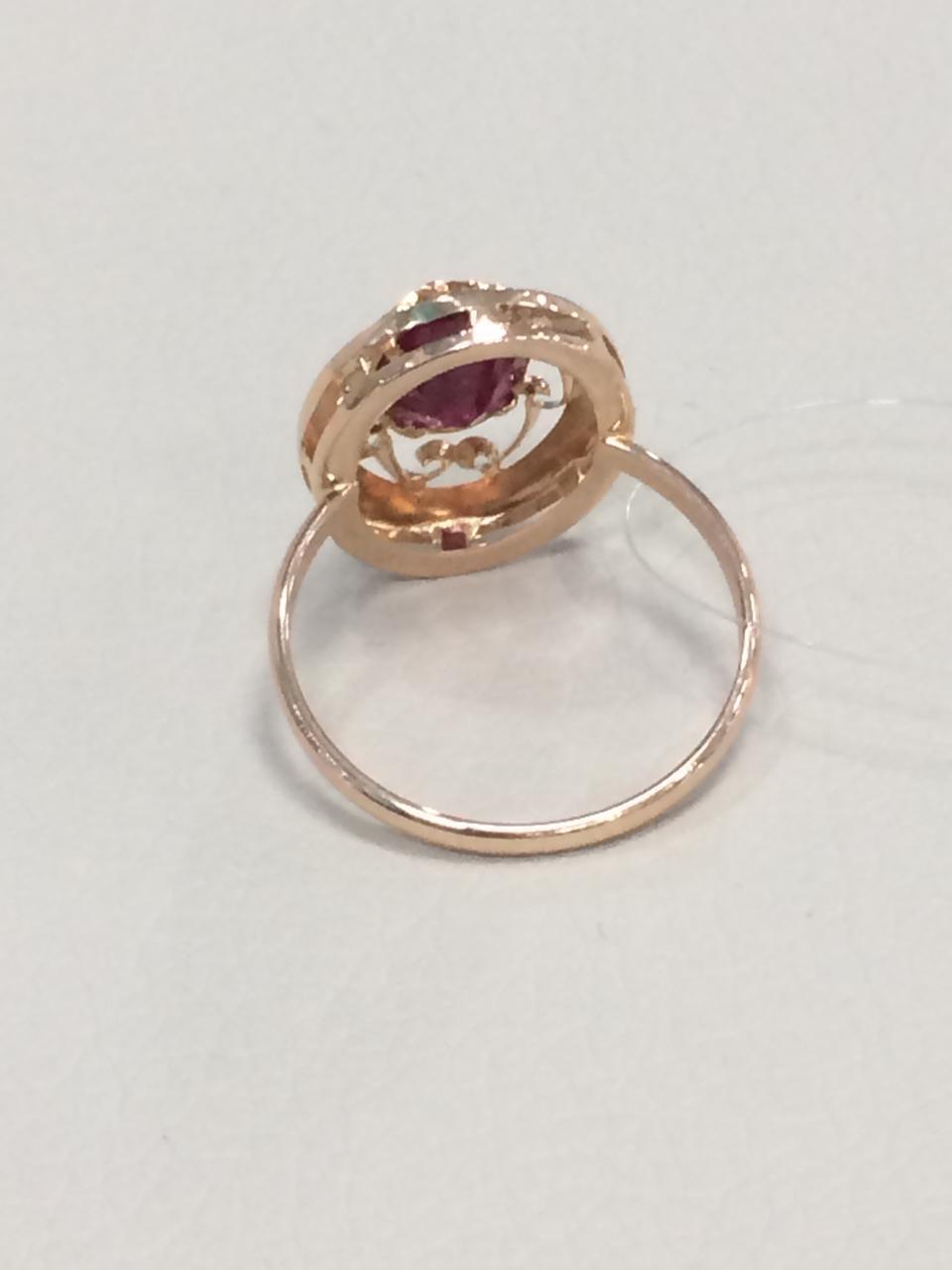 Кольцо с фианитом / красное золото - 18,5 размер - фото 2