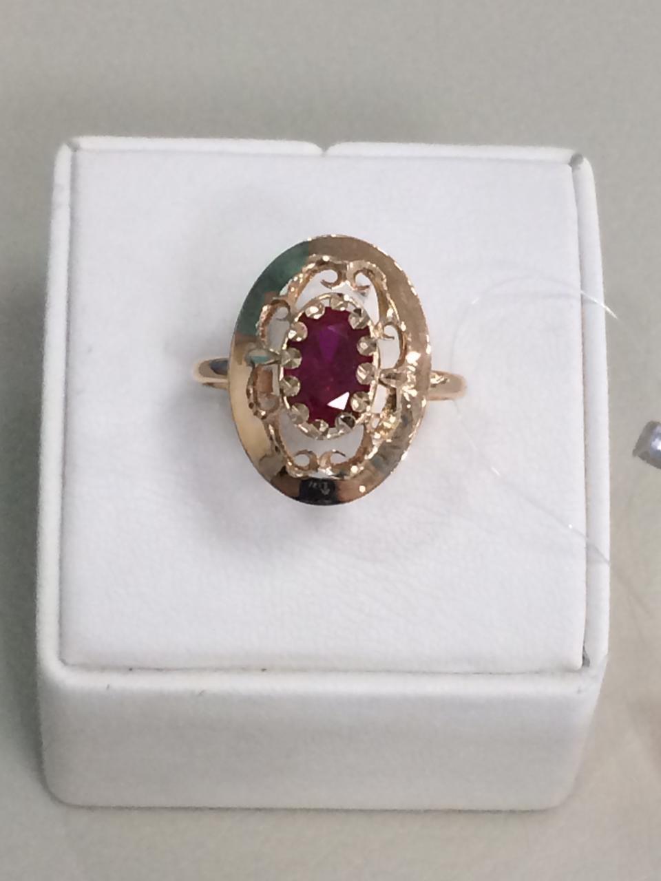 Кольцо с фианитом / красное золото - 18,5 размер - фото 1