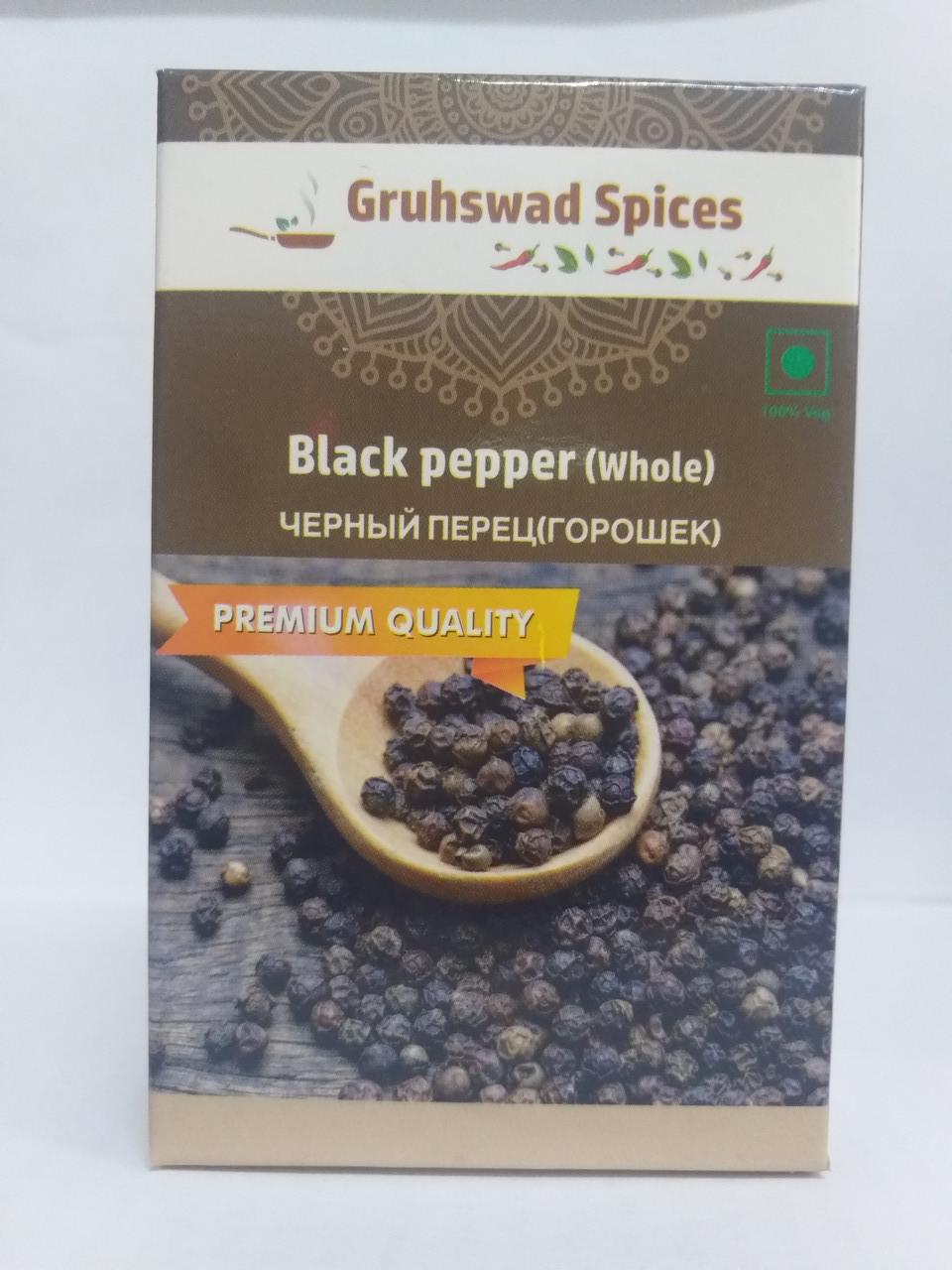 Черный перец горошек, 50 гр, Black pepper (Whole), Gruhswad Spices