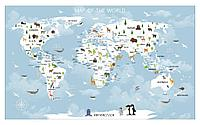 Фотообои карта мира с зеленью