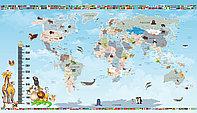 Фотообои карта мира с флагами стран
