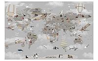 Фотообои карта мира серая