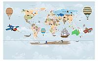 Фотообои карта мира с самолетами
