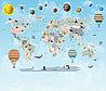 Фотообои карта мира с планетами