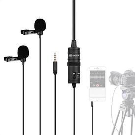 Петличный микрофон двойной BOYA M1DM (петличка 4м)