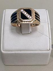 Кольцо мужское / красное золото - 22 размер