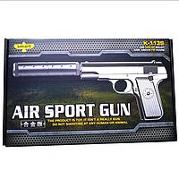 Металлический пистолет для страйкбола с глушителем Air Sport Gun K-113S