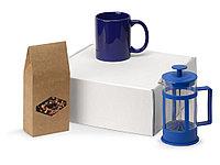 Подарочный набор с чаем, кружкой и френч-прессом Чаепитие, синий