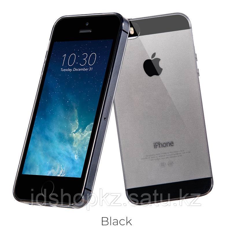 Чехол HOCO TPU Light Series для iPhone 5/5s/SE, черный прозрачный, 0,6 мм - фото 1