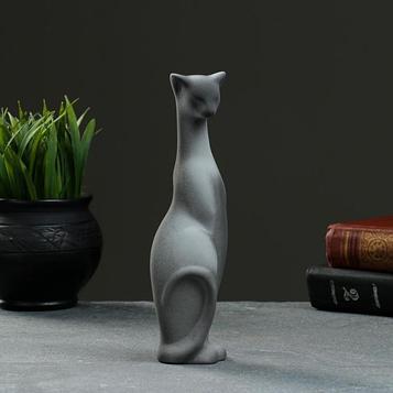 """Фигура """"Кошка Багира"""" наклоненная подпал серая/черный подпал 4×5×20см 008"""