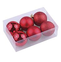 Набор из шести ёлочных шаров 10 см красный