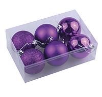 Набор из шести ёлочных шаров 10 см фиолетовый