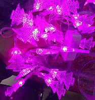 Розовая мигающая гирлянда лента Ёлочки