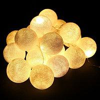 Гирлянда-фонарик Хлопковые шарики из ниток 20 штук 6,5 см Тёплый белый