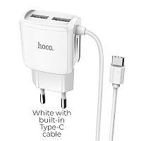 Зарядное устройство HOCO C59A 2.4A, белый, Type-C USB,быстрая зарядка