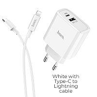 Зарядное устройство HOCO C57A Speed charger USB+Type-C, 3.1A, белый, 18W, быстрая зарядка