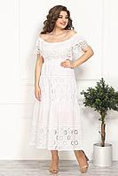 Женское летнее кружевное белое нарядное большого размера платье Solomeya Lux 812 белый 48р.