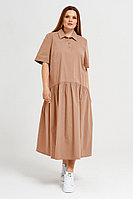 Женское летнее хлопковое бежевое большого размера платье Панда 41980z бежевый 52р.
