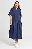Женское летнее хлопковое синее большого размера платье Панда 41980z синий 52р.
