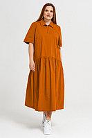 Женское летнее хлопковое оранжевое большого размера платье Панда 41980z терракотовый 52р.