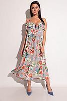 Женское летнее серое платье Michel chic 2060 цветочный_принт 44р.