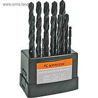"""Набор сверл """"Кратон"""", по металлу, оксидированные, d=1-10 мм, 19 шт"""