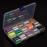 Набор переводной фольги для дизайна ногтей 'Holographic neon', 2,5 x 100 см, 15 шт, цвет МИКС
