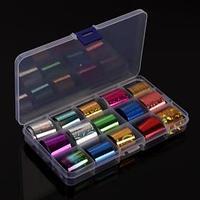 Набор переводной фольги для дизайна ногтей, 2,5 x 100 см, 15 шт, цвет МИКС