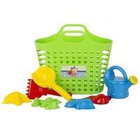 Песочный набор из 8 предметов сумка-корзина, лейка-мини 0,5 Л, совок L16см. грабли, формочки 4 шт.