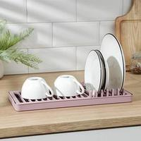 Сушилка для посуды 'Мини', 37x15 см, цвет пудровый