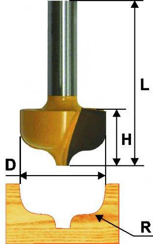 Фреза паз фасонная ф23,8х16мм R4,8мм хв 8мм
